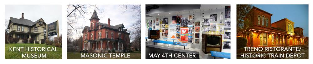 Kent Historical Museum, Masonic Temple, May 4th Center, and Treno Ristorante/Historic Train Depot